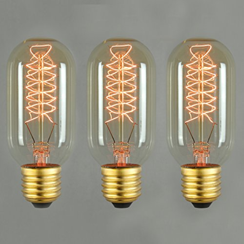 Vintage Edison Light Bulb 60w - Spiral Radio Valve E27 ES Dimmable (3 pack)