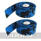 SODIAL(R) 2 Pcs Silver Tone Bar Plugs Blue Black Bicycles Handlebar Tape Wrap