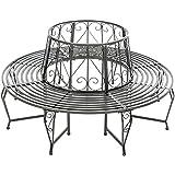 banc de jardin banc d 39 arbre en fer marron style antique demi cercle de 148 x 74 x 78 cm amazon. Black Bedroom Furniture Sets. Home Design Ideas