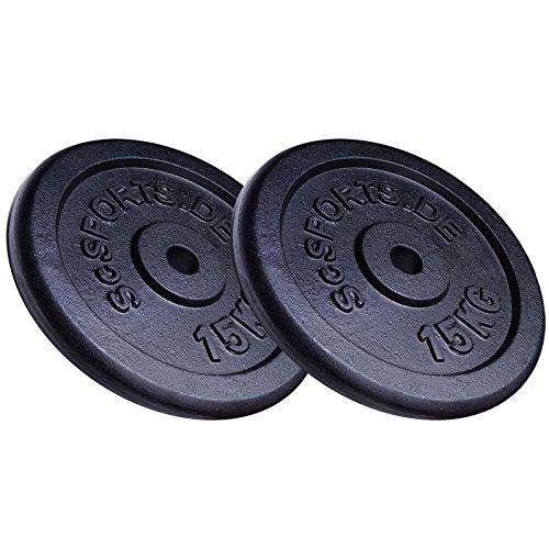 ScSPORTS® 30 kg Hantelscheiben-Set 2 x 15 kg Gusseisen Gewichte 30 mm/31 mm Bohrung