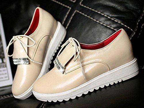 Aisun Damen Rund Strass Asakuchi Ohne Verschluss Durchgängiges Plateau Sneakers Beige