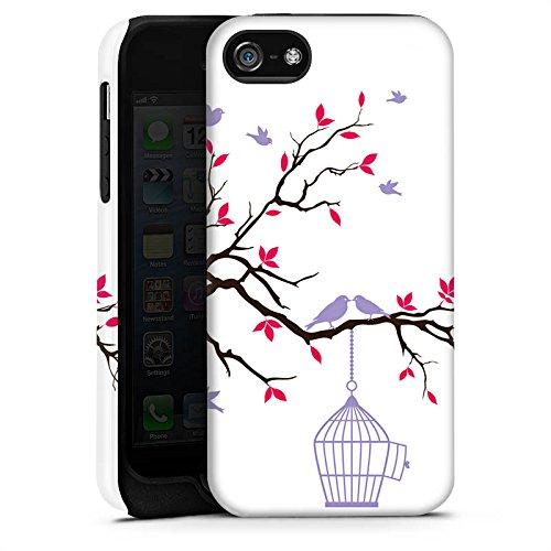 Apple iPhone 5s Housse étui coque protection Oiseau Cage Pastel Cas Tough terne