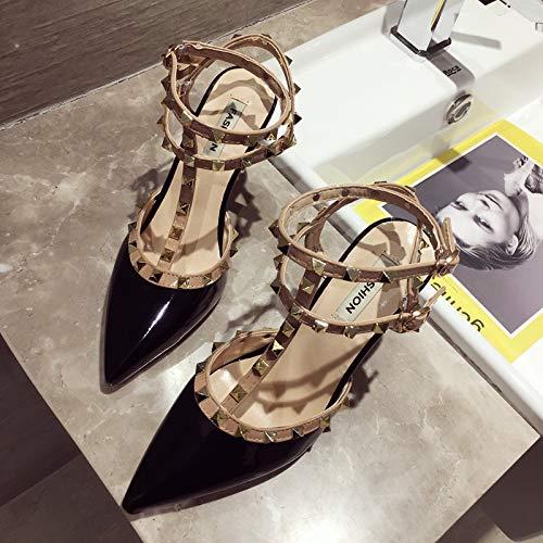 Uhrtimee Französisch Mädchen High Heels Weiblich 2019 Sommer New Stiletto Schwarz Sexy Einzelne Schuhe Metall Nieten Sandalen, 38, Schwarz Beaded High Heel Heels