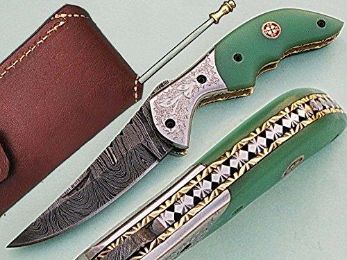 faite à la main 18 cm Awesome couteau de poche pliant des véritables Acier de Damas avec manche G10 Matière Mitres et gravée : (Bdm-79) (Legal au transport)