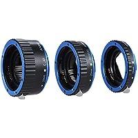 Andoer Enfoque automático TTL de Colores Metal Tubo de extensión de Macro para Canon EOS EF-S 60D 7D 5D II 550D Azul
