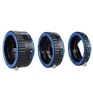 Andoer Tubo di prolunga automatico per Canon EOS EF/AF - Set di tre tubi di prolunga Auto Focus: 13 mm, 21 mm, 31 mm, compatibili con Canon EF/EF-S (blu)