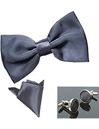 New sSendmart Plain Pre-Tied Satin Bow tie + Cufflink + Pocket Square - Various Colours