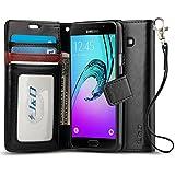 Coque Galaxy A3, J&D [Stand de Portefeuille] Etui Portefeuille de Protection Antichoc avec Stand pour Samsung Galaxy A3 - Noir