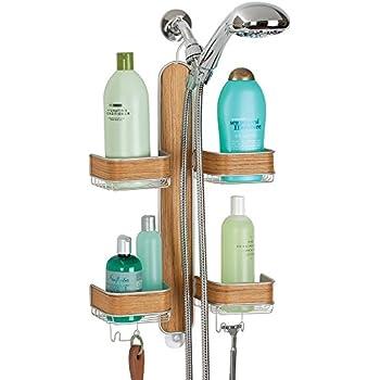 mDesign Teak Wood Accents Shower Organiser For Hand Held Hoses ...