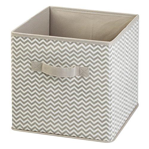 mDesign Caja para organizar juguetes - Caja de tela para artículos de bebé y niños - Organizador de tela para mantas, ropa o juguetes - Juego de 2 unidades - topo/natural