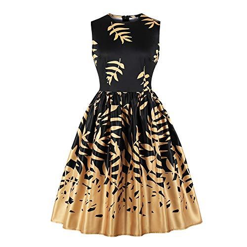 KIMODO Damen Kleid Herbst ärmelloses Blatt Drucken Vintage Abendkleid Partykleid Midi Swing Kleider (Schwarz, XXXX-Large)