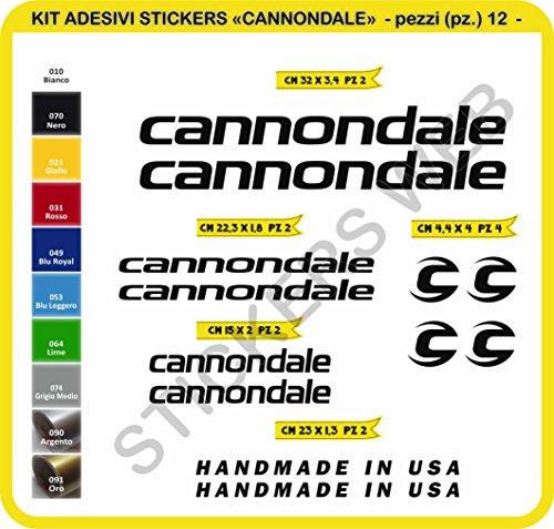 Code 0089- Cannondale Fahrrad-Aufkleber, selbstklebend, 12Sticker, Auswahl von Farben - Nero cod. 070