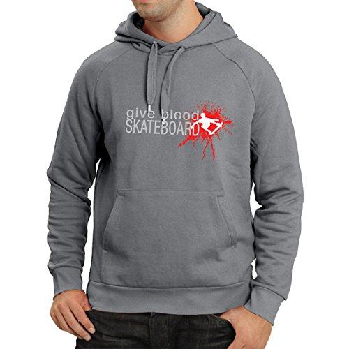 Kapuzenpullover Gib Blut Skateboard! - lustige Skateboard Zitate, Pro Skater (X-Large Graphit Mehrfarben) -