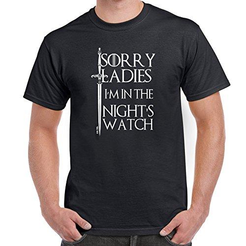 Jugend-navy S/s T-shirt (Herren Lustige Sprüche coole fun T Shirts-I'M In The Nights Watch-Game of Thrones tshirt-schwarz-X-Large)