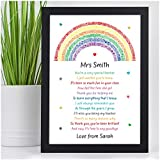 PERSONALISED Rainbow Poem Gifts for Teachers, Teaching Assistants, TA, Nursery Teachers - Best Teacher Poem Gifts for Female Teacher - Teacher Appreciation - End of Term, School Leaving Gifts