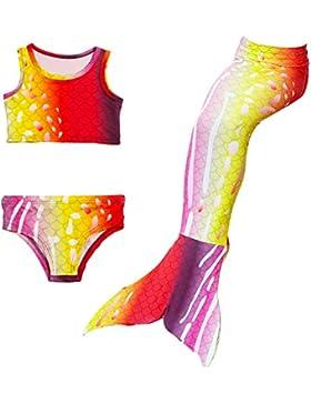 Traje de baño para niñas con diseño de sirena, multicolor, traje de buceo, bikini, disfraz, tankini, con parte...