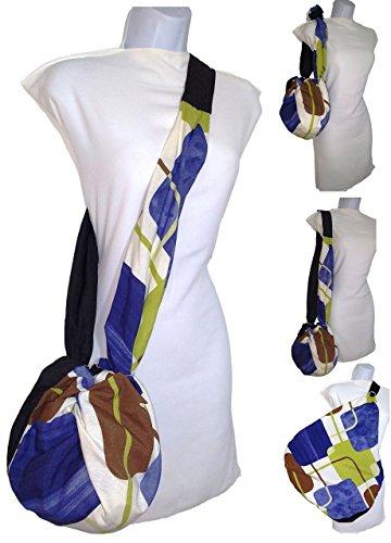Stofftasche Personalisiert mit Initialen, Umhängetasche. Schwarz und Braun, Blau, Weiß. Ökologisch Für Mode kaufen, aus Cabrio in Riese umwandeln