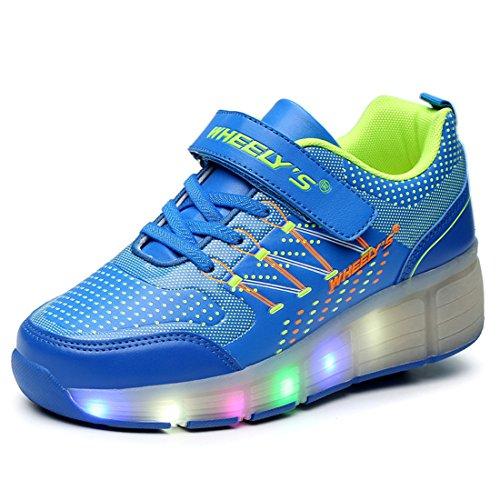 WHEELY'S Skateboard Schuhe Turnschuhe Jungen und Mädchen Wanderschuhe Neutral Kuli Rollschuh Schuhe mit LED-Skateboard Lichter Blinken Schuhe Räder Schuhe (40, Blau) (Skateboard-schuh 2)