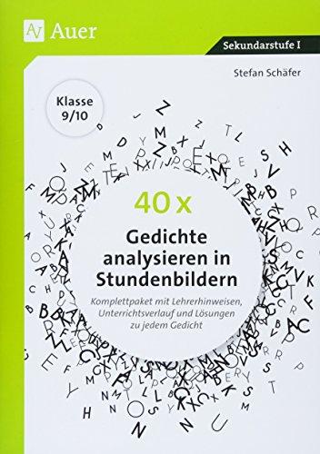 40 x Gedichte analysieren in Stundenbildern 9-10: Komplettpaket mit Lehrerhinweisen, Unterrichtsverlauf und Lösungen zu jedem Gedicht (9. und 10. Klasse)