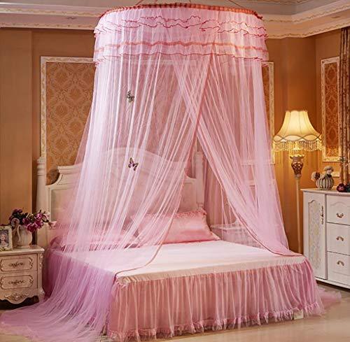 XNNSH Lace Curtain Dome Bed Canopy Netting Princess Mosquito Net, Elegant Bed Canopy Set inklusive Full Hanging Kit Keeps Away Insekten und Flies für EIN für Krippen, Hängematten Doppelbett,Pink - Drape Kit