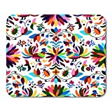 Gaming Mauspad Bird Vector Seamless Mexican Otomi Style Bright Pattern Textile Flower 11.8x 9.8 Decor Office Nonslip Rub