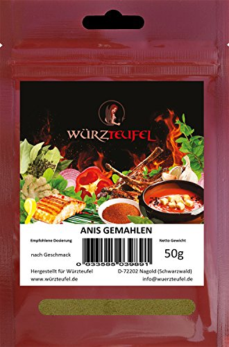 Lebensmittel Anis Öl (Anis, Anissamen gemahlen (Pimpinella anisum), Keimreduziert, Spitzenqualität aus Spanien. 2 Beutel je 50g. (100g).)