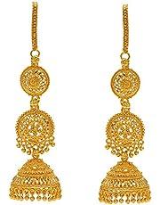 MissMister Gold plated Faux Kundan long Earwire Jhumki kaan chain Traditional Women