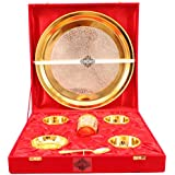 Indian Art Villa 7 Piece Silver Plated Gold Polish Dinner Set For Home, Hotel And Restaurant