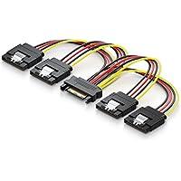 deleyCON 0,15m S-ATA Strom-adapter Y-Adapter - 1x SATA Buchse zu 4x SATA Stecker - Internes HDD / SSD SATA Strom-Kabel - bis zu 4 Geräte mit Strom versorgen - Y SATA-Stromkabel