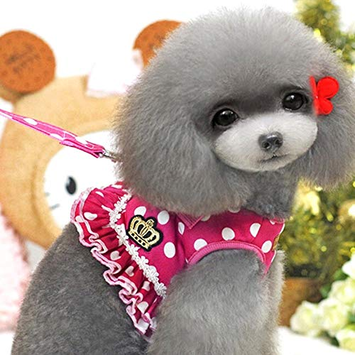 Haustierkleidung Hund Haustier Weste Geschirr + Leine Sicherheit Walking Training Kleidung Verhindern Unfälle Weiche Polka Dot Crown Rock Geeignet für Katzen und Hunde (Color : Rose red, Size : L) - Rose Flanell-pyjama