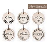 Peony Custom Engraved Pet Collar ID Tag, Personalized Name Identification Plate