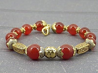 Bracelet pour femme Thurcolas plaqué or en Cornaline de la gamme Médicis