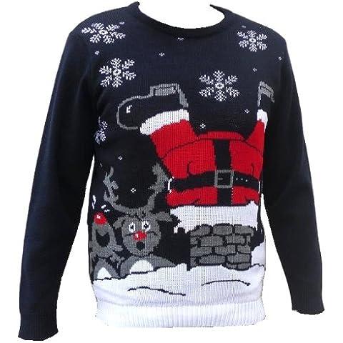 London lavorazione a maglia Gallery di Natale cover rétro Jumper Navy camino Babbo Natale