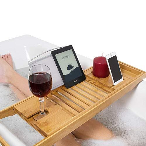 Ann-Badewanne Natürliche Bambusbad-Caddy-Brücke, Ausziehbare Luxusbuchablage Weinglashalterung (Tablet, Kindle, IPad, Smartphone) Für EIN Home Spa Experience Tray