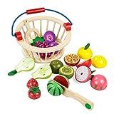 Elover Essen Schneiden Hölzern mit Korb Küchenspielzeug Obst Eingestellt Essen Spielen für Kinder Rollenspiele Spielzeug Pädagogisches Lernen Küchen Set