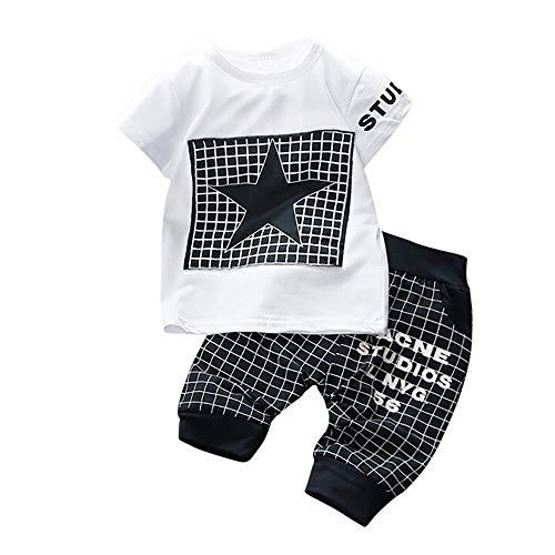 WUSIKY Frühling Sommer Säuglingspyjamas Kid Overall Jungen Mädchen Brief Stern Print Plaid Tops + Pants Outfits Kleidung ()
