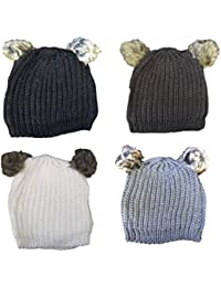 Twin Faux Fur Pom Pom Knitted Beanie Hat One Size - Selection of Colours