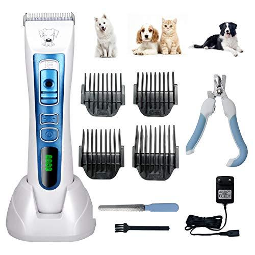 Aibesser Tierhaarschneider Hunde Schermaschine Hundeschermaschine Hunde Katzen Haustier Wiederaufladbare Timmer Grooming Clipper Kits mit 4 Aufsätze -