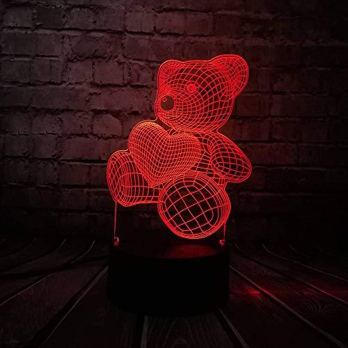 Night Light Baby Teddy Bear Hold Love Heart Balloon 3D Usb Led Lámpara Mesa Night Light Home Room Decor Kids Toy Christmas Gift