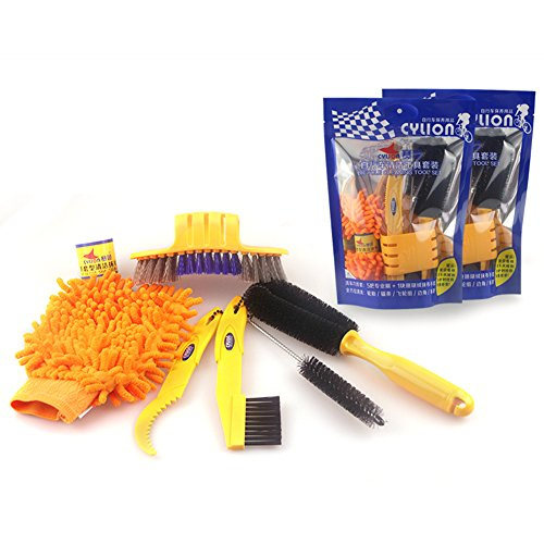 Demiawaking Bicycle Cleaning Tool Kit Chain Cleaner + Tire Brushes + Bike Cleaning Gloves
