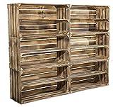 6er Set große geflammte Holzkiste mit Mittelbrett - XL neue Obstkiste als Schuhregal Schuhschrank Bücherregal aus Holz Kiste Kistenregal Obstkistenregal Regalkiste Sideboard Lowboard 74,5x40,5x31cm