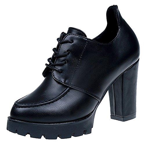 Bottes de Neige,Subfamily Bottines Cuir Femme Chaussures Boot Plateforme Vintage Chunky Talons Talons épais Heel Bottines Bottines Chaussures Chaussures de Ville Bottes à Lacets