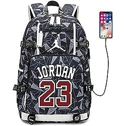 LI JI Basketball Star Michael Jordan Mochila Mochila De Lona Hombres Y Mujeres Estudiantes Niños Bolsa De Viaje Mochila USB para Computadora (3 Colores Opcionales)