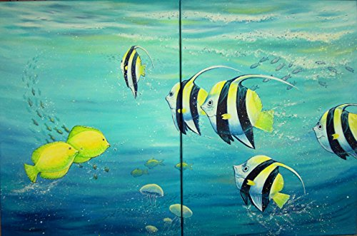 Acrylgemälde TROPICAL FISHES 2-teiliges Set -