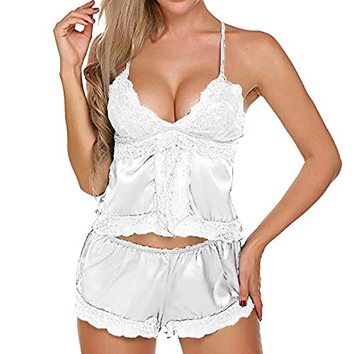Dessous Set Sunnyadrain Reine Farbe Spitze Top+Hosen Patchwork V-Neck Unterwäsche Lingerie Transparent Damen Reizwäsche Pyjamas