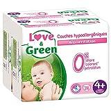 Love & Green - Couches Bébé Hypoallergéniques 0% -  Taille 4+ (9-20 kg) - Lot de 2 x 28 couches (56 couches)