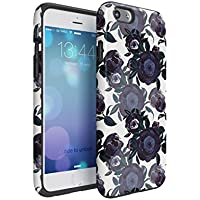 Flower Night Blue Rose Blossom Pattern Inner TPU Bumper And Outer Hard Plastic Shell, Hybrid Dual Layer Tough Case Cover For iPhone 6 / iPhone 6S
