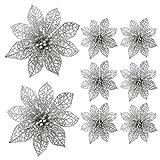 Turelifes Pack von 8 Glitter Künstliche Poinsettia Blumen Christbaumschmuck 5,9 '' (15cm) Durchmesser (Silber)
