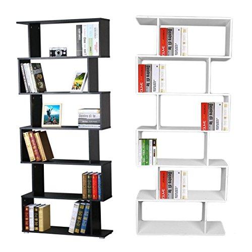 Yosoo libreria scaffale pensile mensola da parete per ufficio e casa,bookshelf design moderno sala camera da letto mobile ,6 ripiani,80 x 25 x 192 cm (nero)