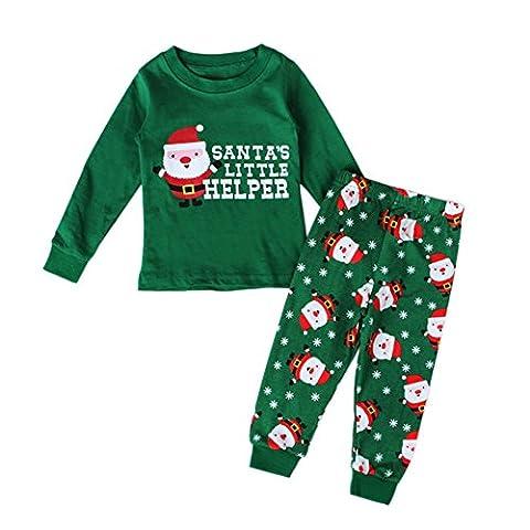 MORESAVE Baby Clothing Sets Christmas Costume Santa Printed Tops + Elastic Pants Outfit